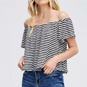 Tops - Nautical Off-the-Shoulder Black and White Crop Top